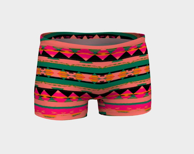 Neon Tribe Geometric Yoga Shorts, Boy Shorts, Pink and Green, Women's Shorts, Yoga Shorts, Swim Shorts, Athletic Shorts, Running Shorts