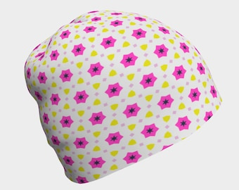 Pink Winter Flower Beanie. Beanies for adults, kids and babies
