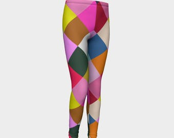 1aaf5321981ec Girls Leggings, Multicolored Harlequin Leggings, Girls Yoga Leggings,  Leggings, Girls Clothes, Back to School Leggings, Girls Yoga Pants