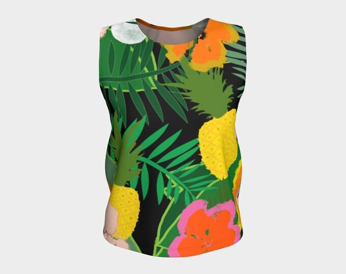 Pineapple Jungle Women's Loose Fitting Tank Top, Tank Tops, Summer Tank Top, Women's Tank Top, Tank Top, Loose Fit Tank Top, Relaxed Fit Top