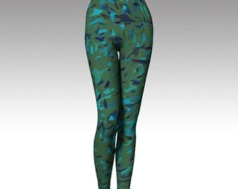 Green Blue Confetti Leggings, Yoga Leggings, Yoga Pants, Printed Leggings, Women's Leggings, Leggings,  Gift for her