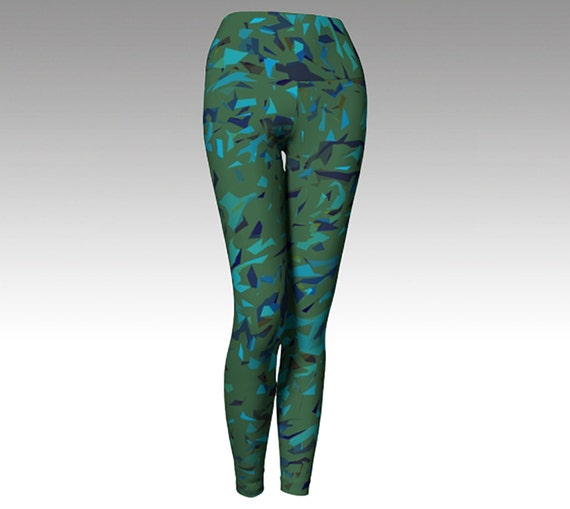 Green Blue Confetti Leggings, Printed Leggings, Women's Leggings, Leggings, Yoga Pants