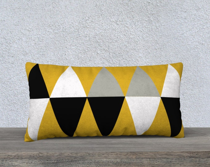 Featured listing image: Mid-Century Modern Vintage Diamond Gold Lumbar Pillow Cover