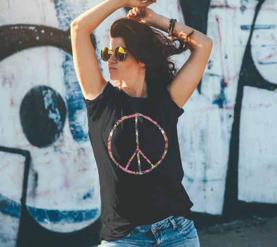 Peace Sign Flower Unisex Black T-Shirt
