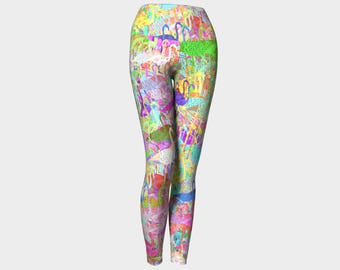 Flamingo Mania Yoga Leggings, Yoga Leggings, Yoga Pants, Women's Yoga Leggings, Leggings