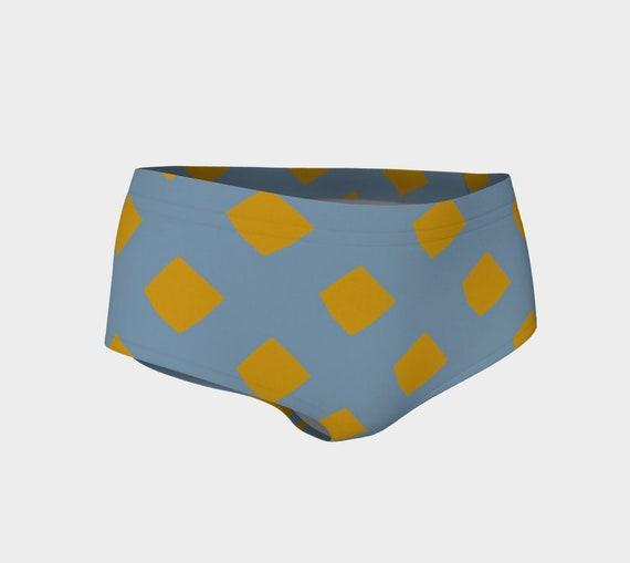 Blue and Gold Lattice Bikini Shorts