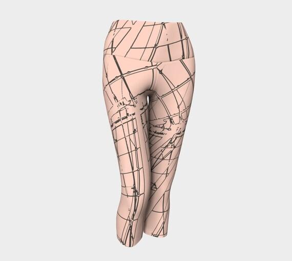 Tight Rope Women's Capris, Leggings, Capris, Women's Capris, Pink and Brown Capris, Yoga Capris, Yoga Leggings, Yoga Pants, Workout Pants