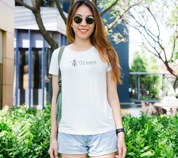 Bee Green Women's T-Shirt, Bee graphic on back