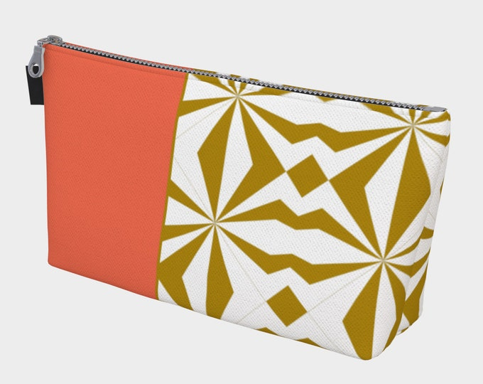 Tribal Gold and Orange Cosmetic Bag, Makeup Bag, Cosmetic Case, Cosmetic Storage, Travel Cosmetic Bag, Canvas Cosmetic, Cosmetic Bag