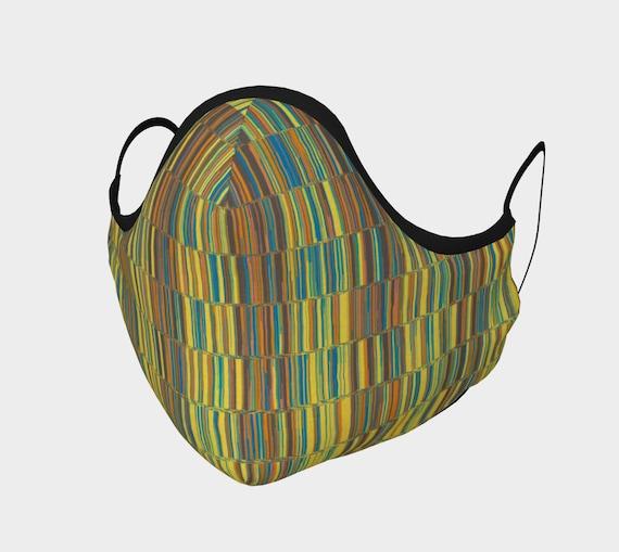 Colorful Stripes Face Mask, Boho Hippie Face Mask