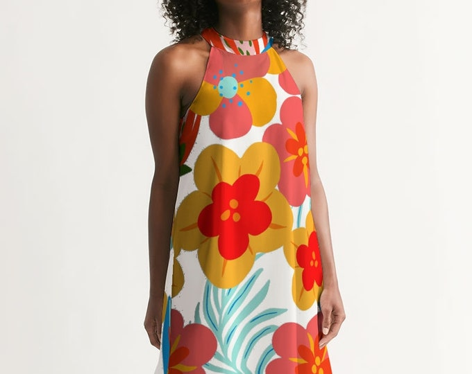 Featured listing image: Flower Power Retro Women's Halter Dress
