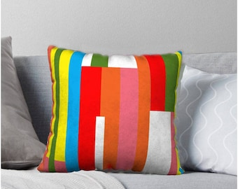 Fruit Stripe Decorative Pillow, Multicolored pillow cover, Pillow Cover, Sofa Pillows, Accent Pillow, Mid-Century Pillow Cover