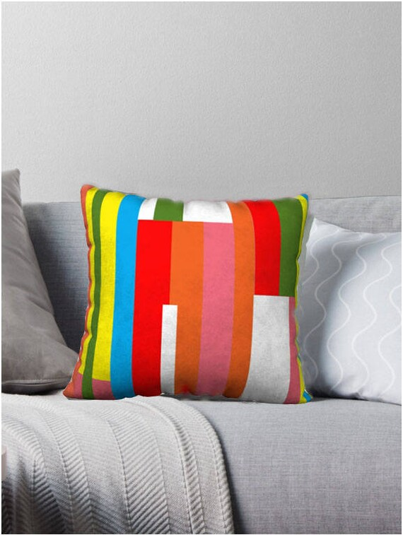 Mid-Century Modern Fruit Stripe Decorative Pillow Cover
