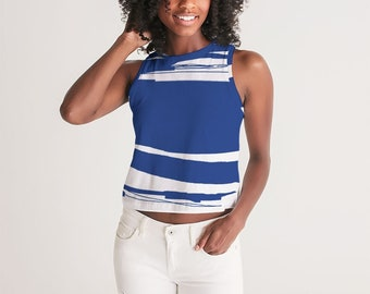 Blue/White Abstract Swath Women's Cropped Tank