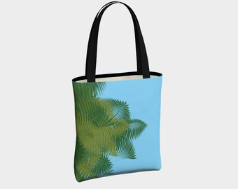 Peek a Boo Palms Blue Tote Bag, Tote Bag, Totes, Bags, Basic Tote, Urban Lined Tote Bag, Leather or Cotton Straps, Magnetic Closure, Purse