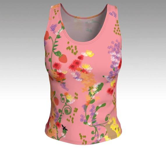 Pink Flower Garden Tank Top, Floral Tank Top, Flowers, Fitted Tank Top, Women's Tank Top, Women's Tops, Yoga Tops, Printed Tank Top