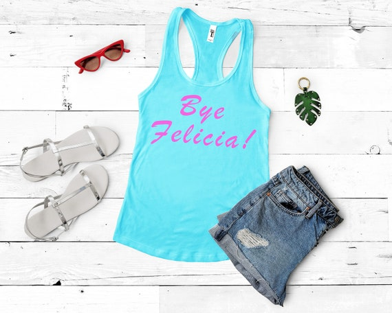 Bye Felicia! Women's Racerback Tank Top in Bright Blue and Pink