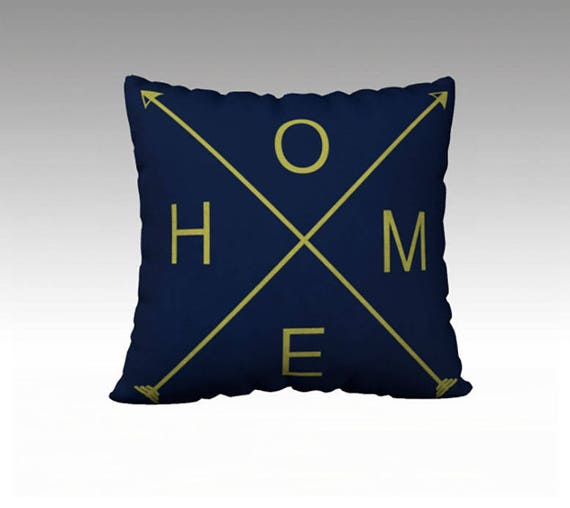 HOME Navy and Green pillow cover