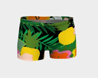 Pineapple Jungle Women's Yoga Shorts, Women's shorts, shorts, Boy Shorts, Workout Shorts, Festival Shorts