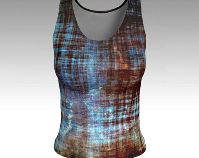 Blue and Brown Tank Top, Tops, Tanks, Shirts, Workout Tanks, Summer Tanks, Summer Tops, Women's Tops, Yoga Tank Top, Fitted Tank Top