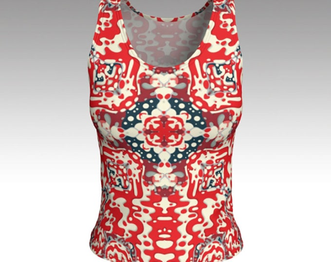 Tank Tops, Tanks, Red Bandanna Tank Top, Red, White and Blue Tank Top, Women's Tops, Tops, Athletic Top, Yoga Top, Exercise Top, Gifts