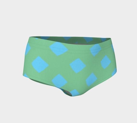 Green and Blue Lattice Bikini Shorts