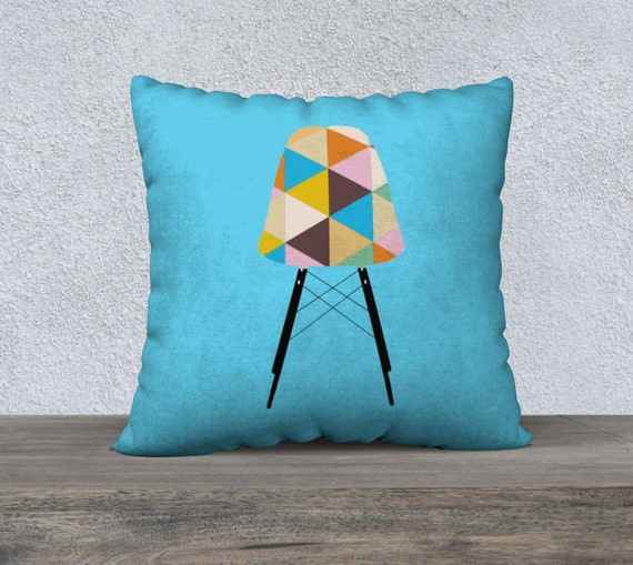 Vintage Chair Light Blue Pillow Cover