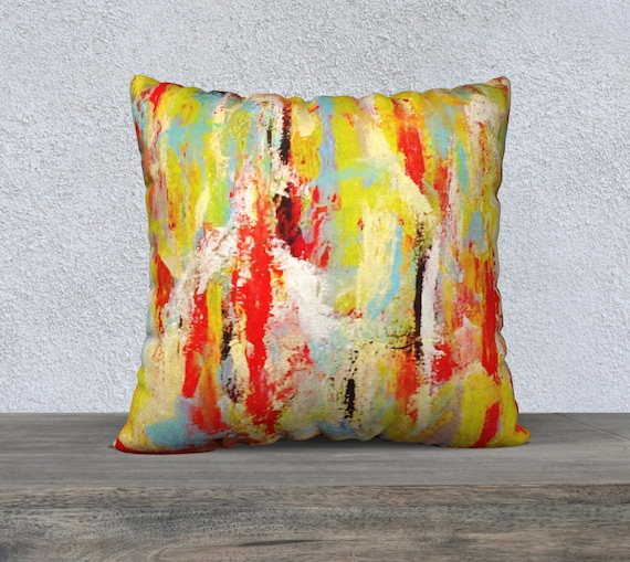 Scratched Multicolored Pillow Cover 22x22