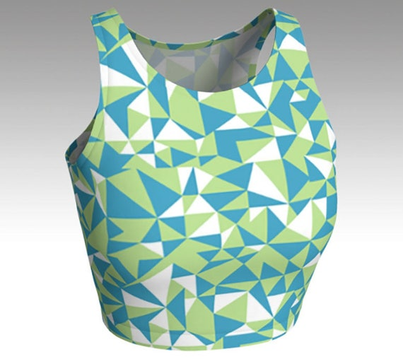 NEW!, Geometric Crop Tops, Blue, Green Crop Tops, Tops, Women's Tops, Yoga Tops, Swim Tops, Athletic Tops