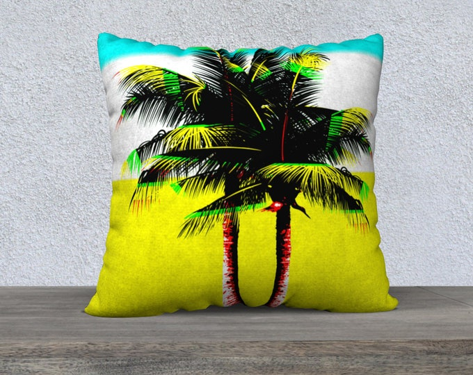Two Palms Miami Style Pillow, Pillow Cover, Decorative Pillows