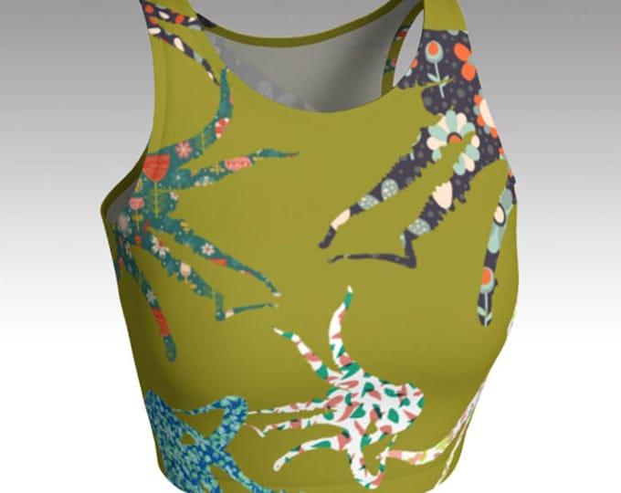 Green Octopus Crop Top, Olive Green Crop Top, Yoga Crop Top, Tops, Women's Tops, Yoga Tops, Swim Tops, Athletic Tops, Workout Crop Tops,