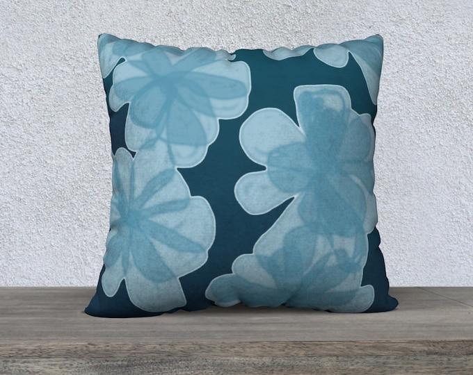 Indigo Blu Flower Pillow Case, Decorative Pillows, Sofa Pillows