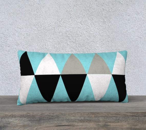 Mid-Century Light Blue Lumbar Pillow Cover