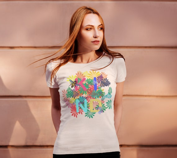 Bee KIND Women's Tee, Floral Tee with colorful typography and bee graphic