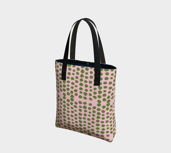 Green Dots Pink Tote Bag, Shoulder Bag