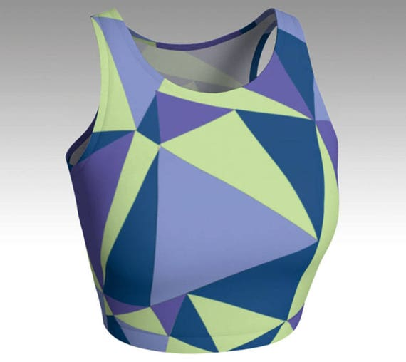 Geometric Crop Tops, Blue, Green, and Purple Crop Tops, Workout Crop Top, Women's Tops, Yoga Tops, Swim Tops, Athletic Tops