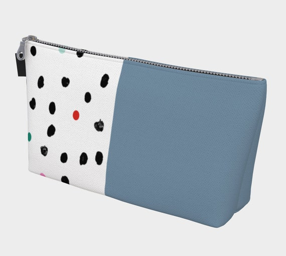 Blue and Polka Dote Cosmetic Bag, Makeup Bag, Cosmetic Case, Cosmetic Storage, Travel Cosmetic Bag, Canvas Cosmetic, Cosmetic Bag