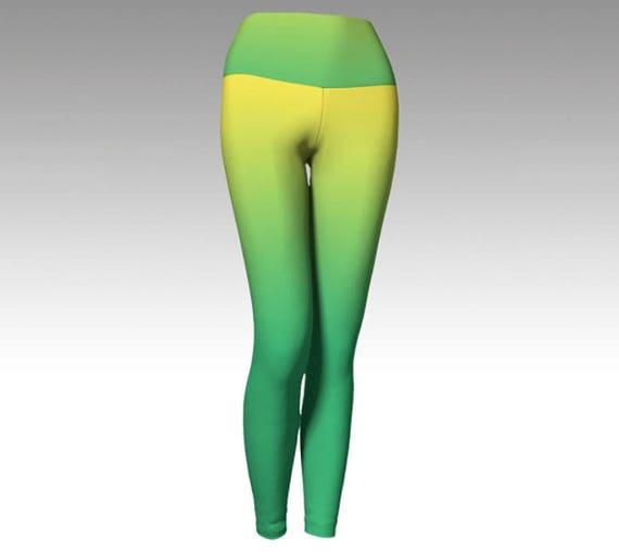 Yellow and Green Ombre Yoga Leggings, Yoga Pants, Yellow and Green Leggings, Printed Leggings, Fashion Leggings, Women's Leggings