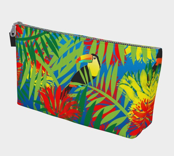 Toucan Jungle Cosmetic Bag, Cosmetic Bag, Travel Bag, Tropical Makeup Bag