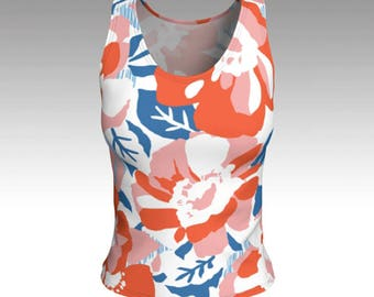 Tank Tops, Tanks, Red, White and Blue Floral Tank Top, Floral Women's Tops, Tops, Swim Tank, Athletic Top, Yoga Top, Gift for her