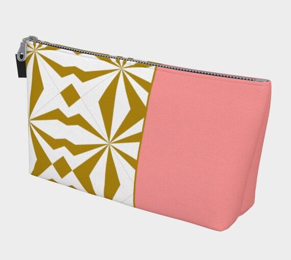Tribal Gold and Pink Cosmetic Bag, Makeup Bag, Cosmetic Case, Cosmetic Storage, Travel Cosmetic Bag, Canvas Cosmetic Bag, Cosmetic Bag