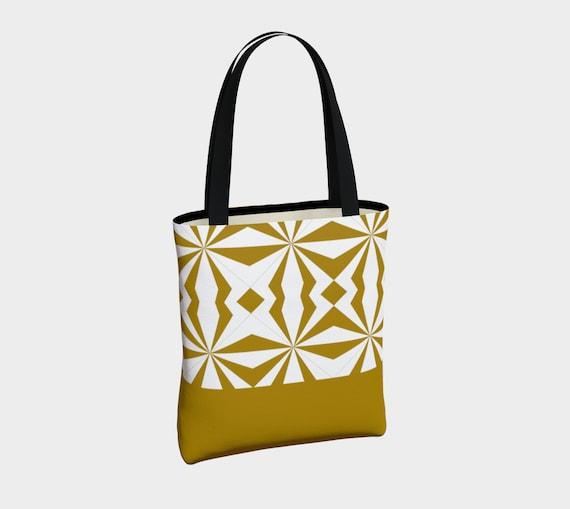 Tribal Gold Canvas Tote Bag, Canvas Tote Bag, Shoulder Bag, Fashion Tote, Basic Tote Bag, Urban Tote Bag, Lined Tote Bag, Tote with Pockets