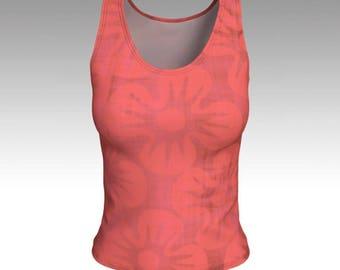 Pink Hibiscus Tank Top, Pink Tank Top, Floral Tank Top, Fitted Tank Top, Women's Tank Top, Women's Tops, Yoga Tops, Printed Tank Top