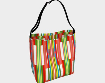 Mid Century Stripes Tote Bag, Beach Bag, Neoprene fabric with choice of strap, Versatile Tote, Day Tote, Large Tote Bag