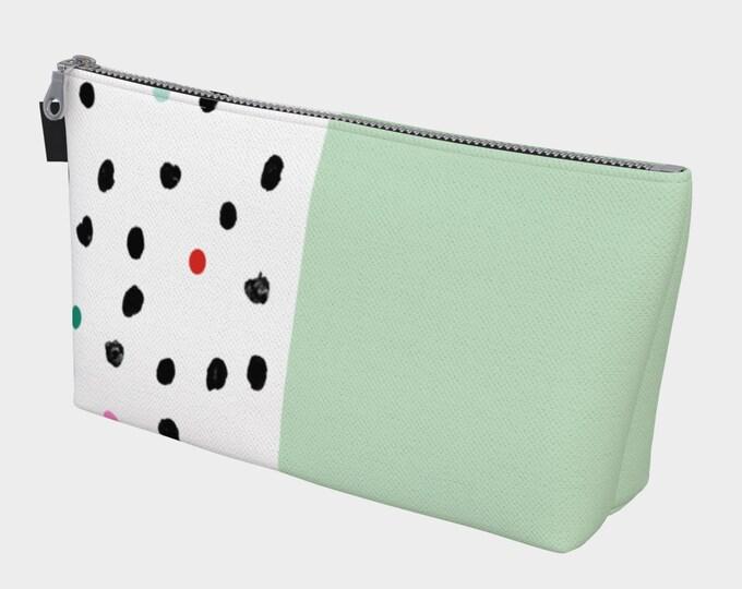Mint and Polka Dot Cosmetic Bag, Makeup Bag, Cosmetic Case, Cosmetic Storage, Travel Cosmetic Bag, Canvas Cosmetic, Cosmetic Bag