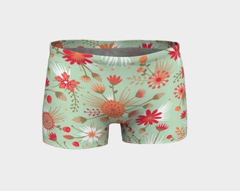 Poppy Flower Yoga Shorts, Boy Shorts, Green and Red Floral Shorts, Women's Shorts, Yoga Shorts, Swim Shorts, Athletic Shorts, Running Shorts