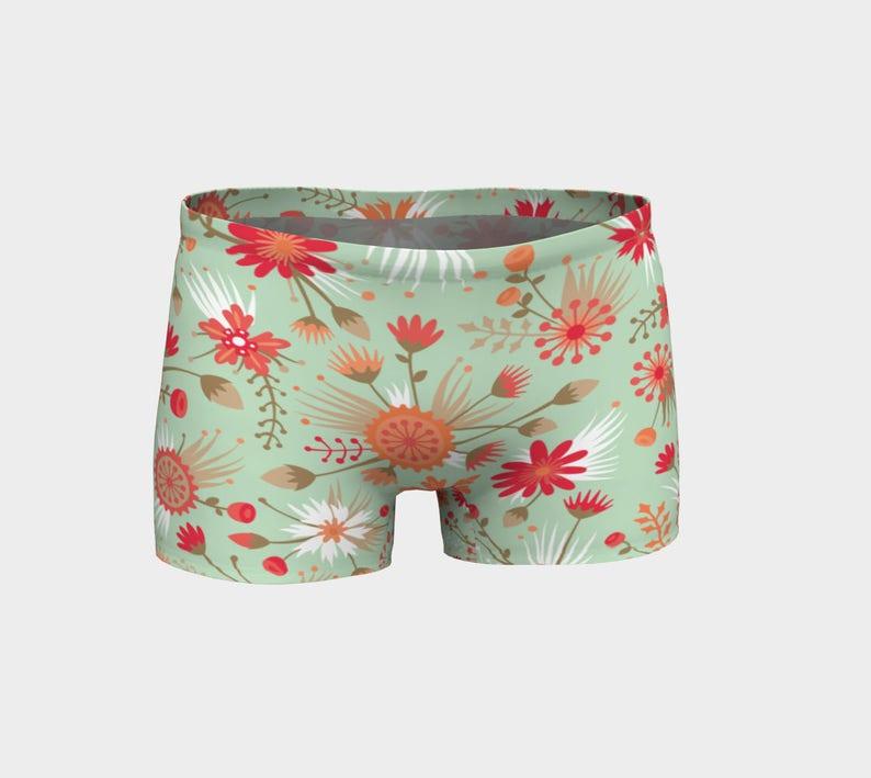 db124836da7c5 Poppy Flower Yoga Shorts Boy Shorts Green and Red Floral | Etsy