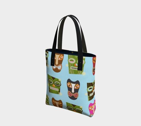 Tiki Face Tote Bag. Choose from Basic or Urban