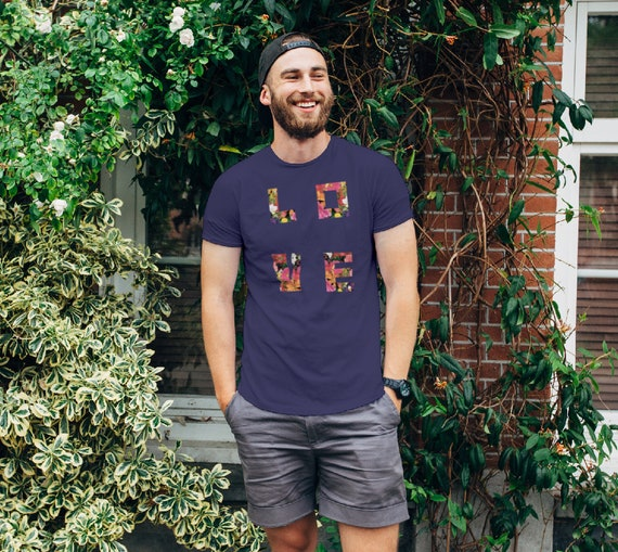 LOVE Floral Unisex T-shirt. LOVE spelled in flowers for women and men