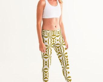 Gold and White Geometric Women's Yoga Pants